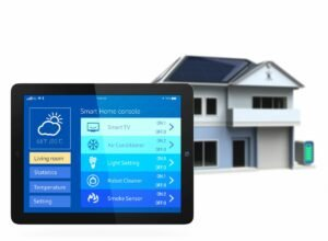 Tablet in Front of House with Smart Home Installation Services in Southwest Ranches